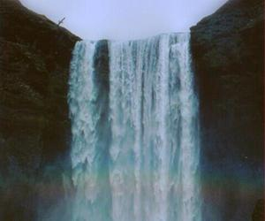 blue, green, and waterfall image