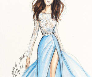 blue, drawing, and dress image