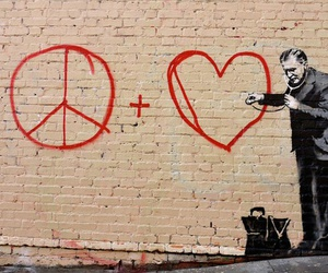 love, peace, and art image