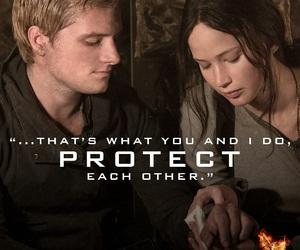 katniss, peeta, and protect image