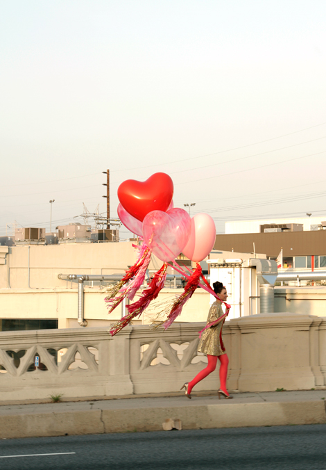 girl, balloons, and valentine image
