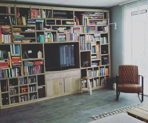 books, cabinet, and deco image