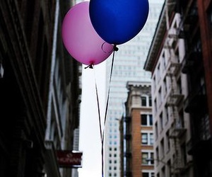 balloons, blue, and city image