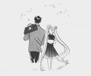 black and white, manga, and love image