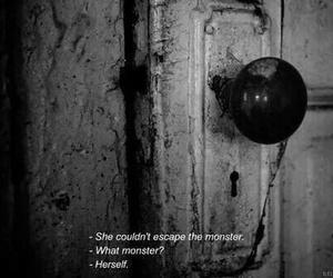 monster, sad, and black and white image