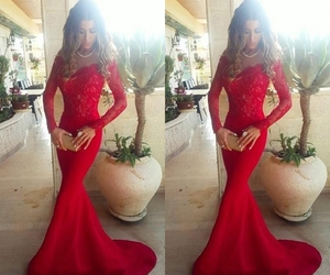 red lace prom dresses and red lace evening gowns image