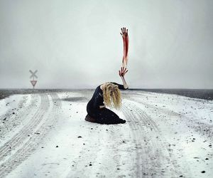 blood, snow, and alone image