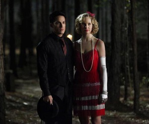 tyler lockwood, the vampire diaries, and caroline forbes image
