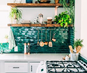 green, kitchen, and tiles image