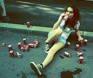 girl, coke, and coca cola image