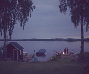 fire and lake image