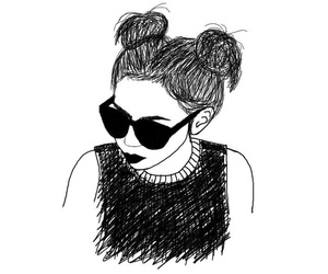 girl, black and white, and draw image