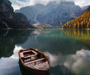 boat, lake, and nature image