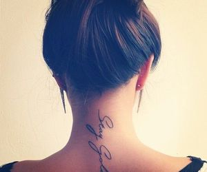 tattoo, hair, and neck image