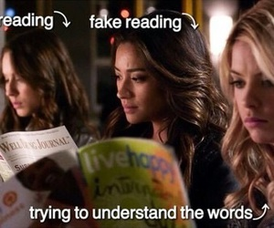 pll, pretty little liars, and reading image