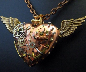 heart, necklace, and steampunk image