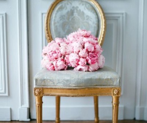 flowers, pink, and chair image