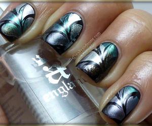 black, metallic, and nailart image