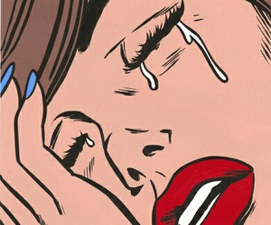 cry, girl, and pop art image