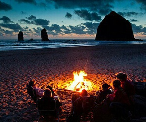 beach, friends, and fire image