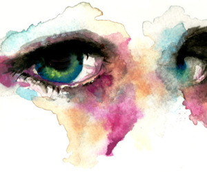 eyes, paint, and watercolor image