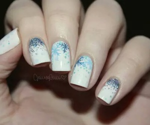 nails, nail art, and snowflake image