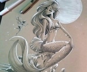 art, drawing, and mermaid image