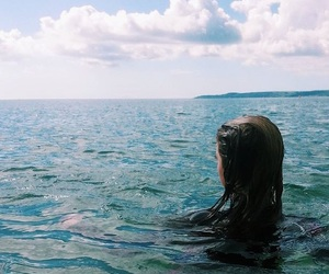 blue, girl, and sea image