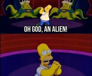 alien, funny, and homer simpson image