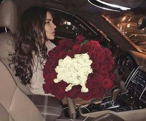 brunette, flowers, and girl image