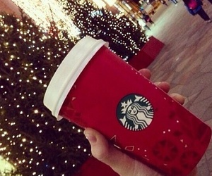 starbucks, christmas, and lights image
