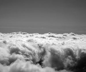 clouds, black and white, and girl image