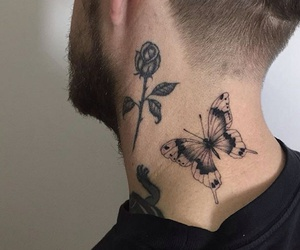 tattoo, boy, and butterfly image