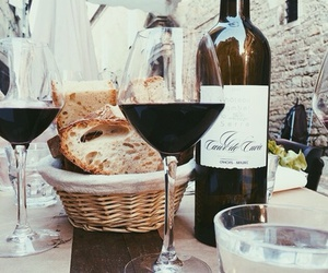 wine, food, and bread image