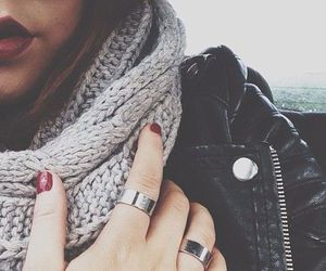 nails, red, and scarf image