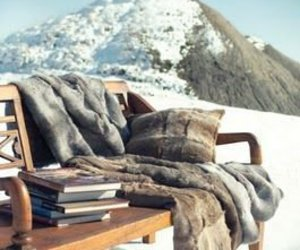 bench, books, and mountain image