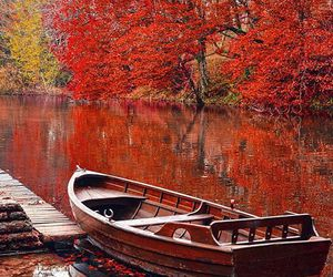 autumn, boat, and lake image