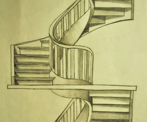 drawing, sketch, and stairs image
