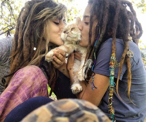 cat, dreadlocks, and kitten image