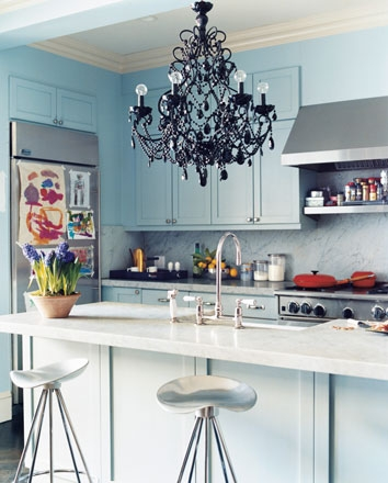 kitchen, chandelier, and decor image