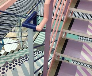 pastel, pink, and stairs image