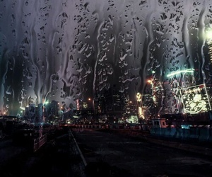 rain, city, and night image