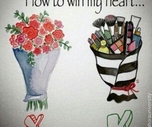 makeup, flowers, and heart image