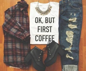 fashion, outfit, and coffee image