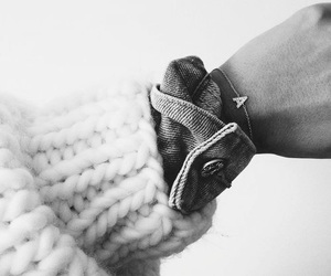 black and white, knit, and bracelet image