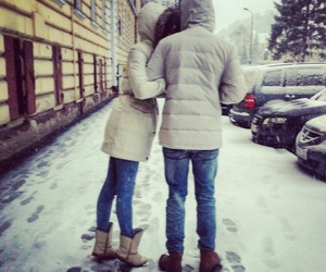 boy and girl, white, and winter image