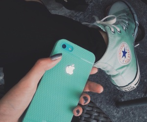 converse, green, and iphone image