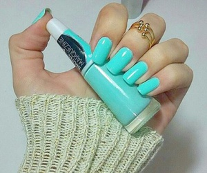 beauty, light blue, and nail image