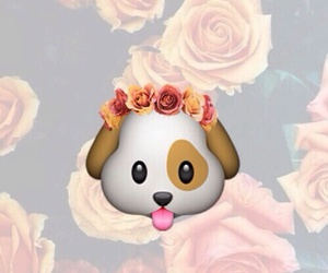 dog, emoji, and flowers image