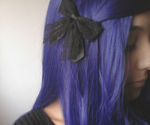 bow, colored hair, and dyed hair image